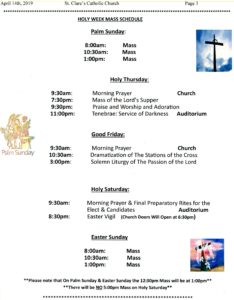 holy week schedule image